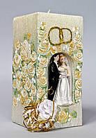 """Свеча """"домашний очаг""""  Пара в цветах золотая"""