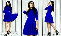 Красивое стильное модное креповое платье с рукавом три четверти цвет электрик