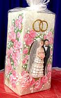 """Свеча """"домашний очаг""""  Пара в цветах розовая"""