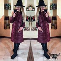Женское пальто  стеганое на синтепоне с пуговичками бордовое