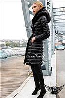 Женское пальто на синтепоне стеганое А1 черное, цвета сирень, хаки, с натуральным мехом