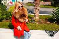 Женское  зимнее пальто кашемировое с натуральным мехом  черное красное