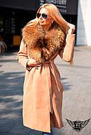 Женское пальто кашемировое с натуральным мехом черное красное розовое