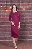 Женское платье Мексика классическое, офисное,  размер  44, 46, 48, 50, 52, 54, 56  бордовое