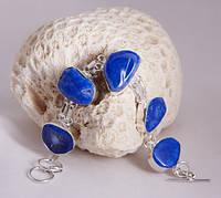 Браслет серебряный с агатом синий