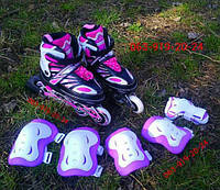 Ролики роликовые коньки + защита  Раздвижные безшумные, фото 1
