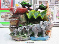 Декоративный настольный водопад фонтан семья слонов. Артикул 3006