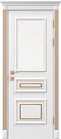 """Дверное полотно """"Rossi"""" со стеклом, белый мат, с гравировкой+патина"""