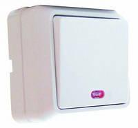 Выключатель одноклавишный с подсветкой АСКО наружный BЗ10-1-1-Сb-W