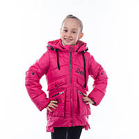 """Детская куртка демисезонная для девочки """"Дина"""", малина, 5-10 лет"""