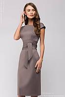 Платье футляр бежевого цвета с поясом