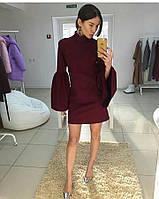 211e63c8749 Платье бордового цвета мини с рукавом воланом новинка этого сезона
