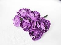 Бумажные цветочки розы для скрапбукинга 6 шт., 3 см фиолетового цвета, фото 1