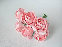 декоративные бумажные цветочки розы 3 см, ярко-розовые оптом для скрапбукинга, фото 1
