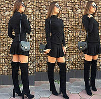 Костюм юбка мини и кофта гольф серого цвета