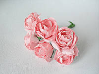 Декоративные бумажные цветочки 6 шт., розы размер 3 см персиково-розового, нежно-кораллового цвета, фото 1