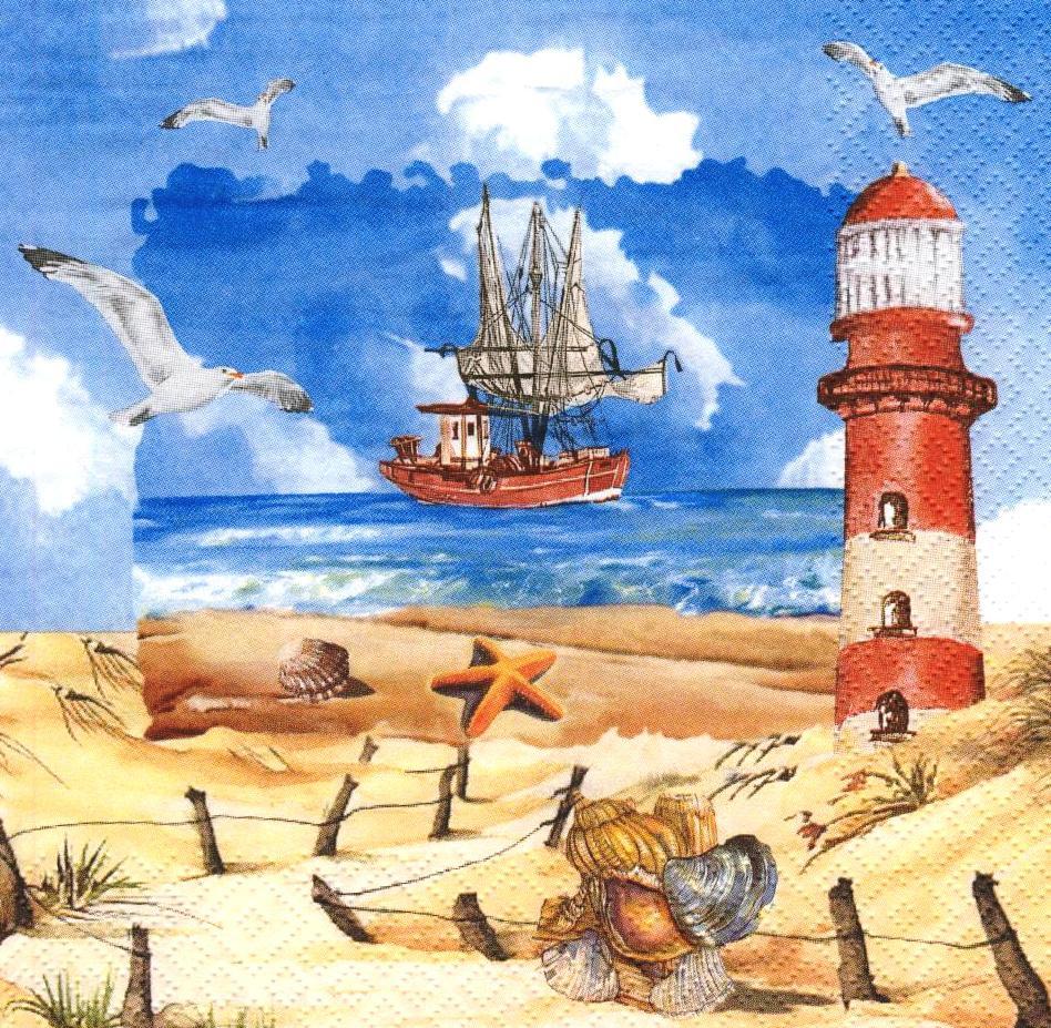 Декупажная салфетка Корабль и маяк 6748
