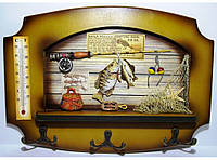 Ключница+Градусник KC361A, деревянная ключница на 6 крючков, декоративная настенная ключница