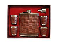 Подарочный набор фляга и 4 стопки NF4-12-7, набор фляга стопки в коробке, лучший подарочный набор для мужчины