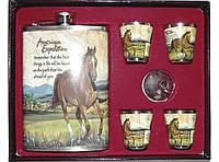 Набор с флягой NF1-135, набор фляга стопки в коробке, подарочный набор для мужчины, фляга + 4 стопки + лейка