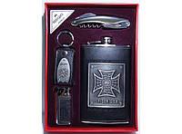Набор фляга + зажигалка + брелок + нож/штопор NFMTE-51, подарочная фляга для алкоголя, набор для мужчины