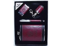 Стильный набор для мужчин NFEE286, набор мужской фляга + ручка + зажигалка + мини фляга в виде брелка
