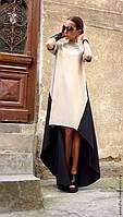 Платье длинное бежевого цвета в комбинации с черным