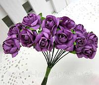 Бумажные цветочки для 12 шт. на ножке 2 см фиолетового, сливового цвета, фото 1