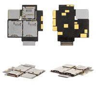 Коннектор SIM-карты для мобильного телефона HTC T528d One SC, на две SIM-карты, с коннектором карты памяти, со шлейфом