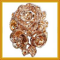 Новое Поступление: Женские Кольца Розы под Розовое Золото 14К с Белыми и Золотистыми Камнями.