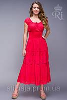Платье   с кружевом и  ярусами с широкой резинкой на талии
