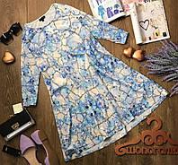 Нежное платье А-силуэта из рельефной ткани с красивым абстрактным принтом в пастельных тонах  DR1061