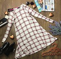 Комфортное вискозное платье с рукавом-реглан в нейтральный клетчатый принт  DR1065