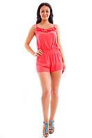 Комбинезон с шортами женский коралловый