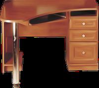 Стол компьютерный, угловой, с тремя выдвижными ящиками, полочкой под клавиатуру разм 110х110х74см Престиж