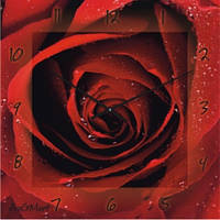 """Большие настенные часы """"Алая роза"""" (500мм) [Стекло]"""