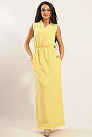 Эффектное желтое платье без рукавов