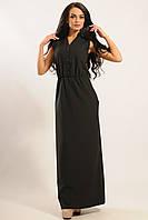 Длинное черное платье с карманами