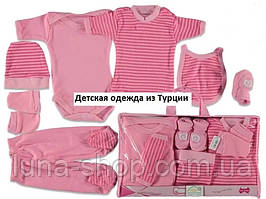 Розовый комплект одежды для новорожденных из 7 предметов, хлопок, Турция