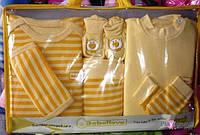 Желтый  комплект одежды для новорожденных из 7 предметов, хлопок, Турция
