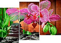 Схема для вышивки бисером POINT ART Триптих Орхидеи и камни, размер 53х37 см