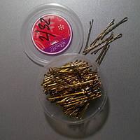 Невидимки для волос золотистые, 5 см, 200 шт