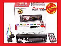 Автомагнитола Pioneer 6317 Usb+RGB подсветка+Sd+Fm+Aux+ пульт (4x50W)