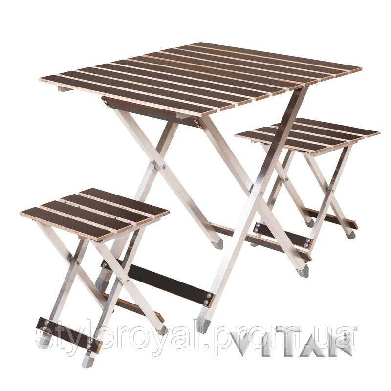 Комплект большой раскладной стол с двумя стульями