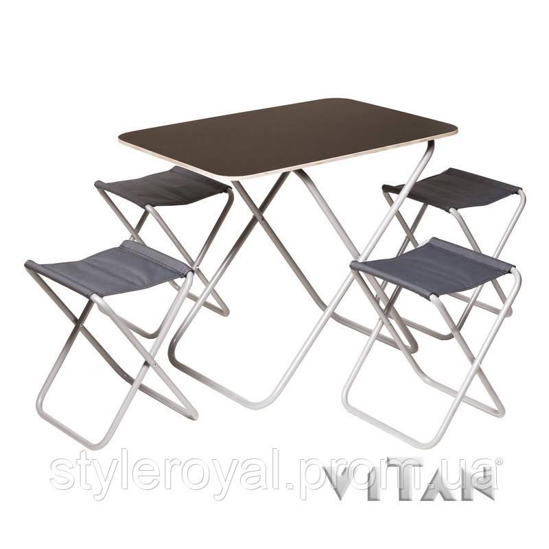 Комплект раскладной стол с 4-мя стульями с алюминиевым каркасом