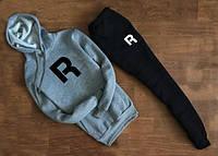 Мужской Спортивный костюм Reebok R серо-чёрный c капюшоном (большой принт)