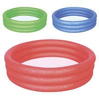 BW Бассейн 51024  детский,круглый,3 кольца,102-25см,рем зап,101л,3 цвета, в кульке, 26-25см