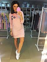 Платье трикотажное с капюшоном, цвет розовый