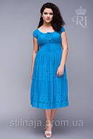 Платье  комбинация кружева и ткани  с широкой резинкой на талии, фото 1