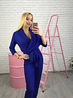 Женский брючный комбинезон с длинными рукавами ( розовый, беж, марсала, синий, мята)